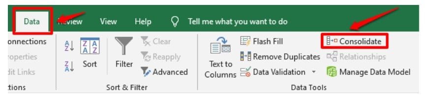 Consolidate data in excel button